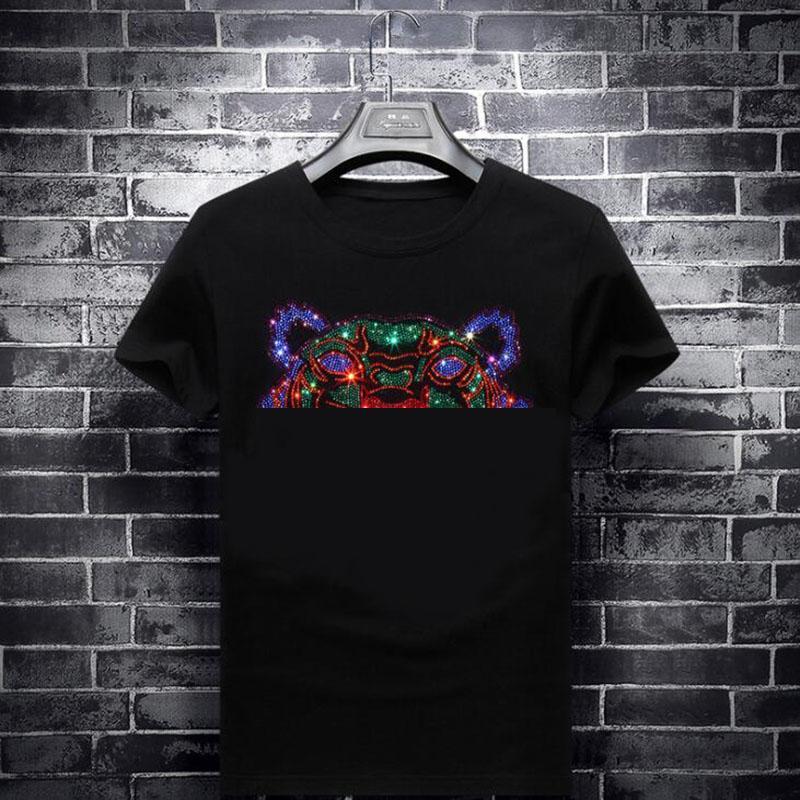 Plus Size 7XL Mens T Shirts Fashion Tiger Head Diamonds T Shirts Street Wear Short Sleeve Mens Womens Clothing