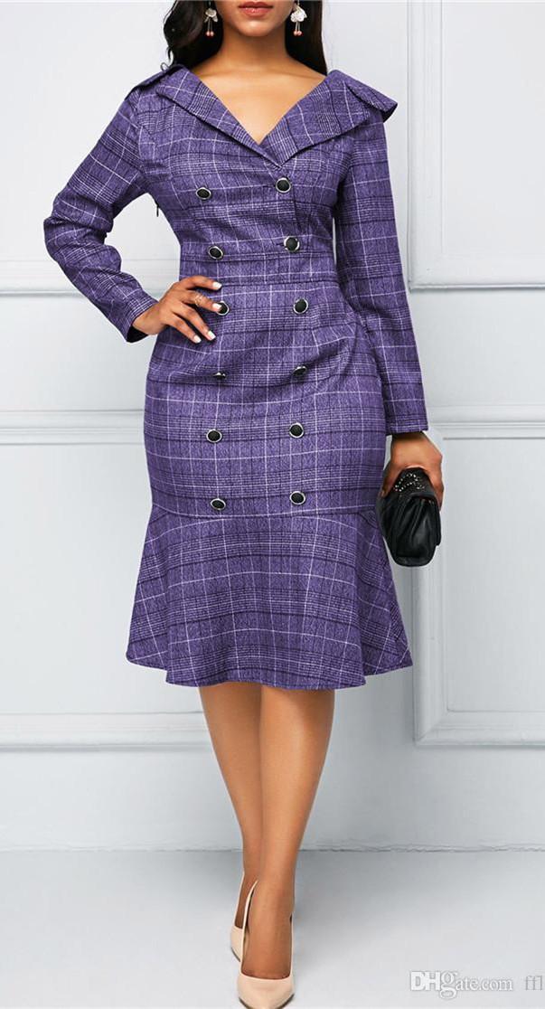 Весна Осень работы печати Платья Мода V шеи длинные платья втулки конструктора женщин повелительницы офиса Одежда