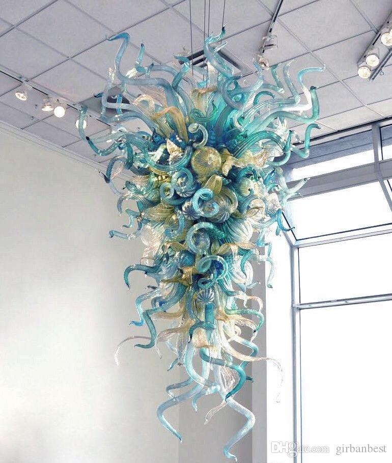 Mão Floral vidro fundido LED Pendant Light Art Special Chandelier Modern Shaped Acrílico Art Glass Chandelier Lighting