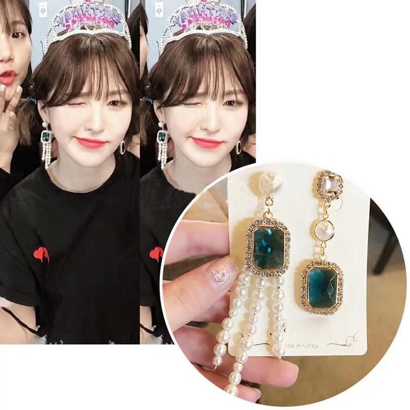 MENGJIQIAO Nueva Corea TV Star Asymmetric Square Crystal Borla Pendientes Para Las Mujeres Chica Elegante Simulado Perla Oorbellen Joyería