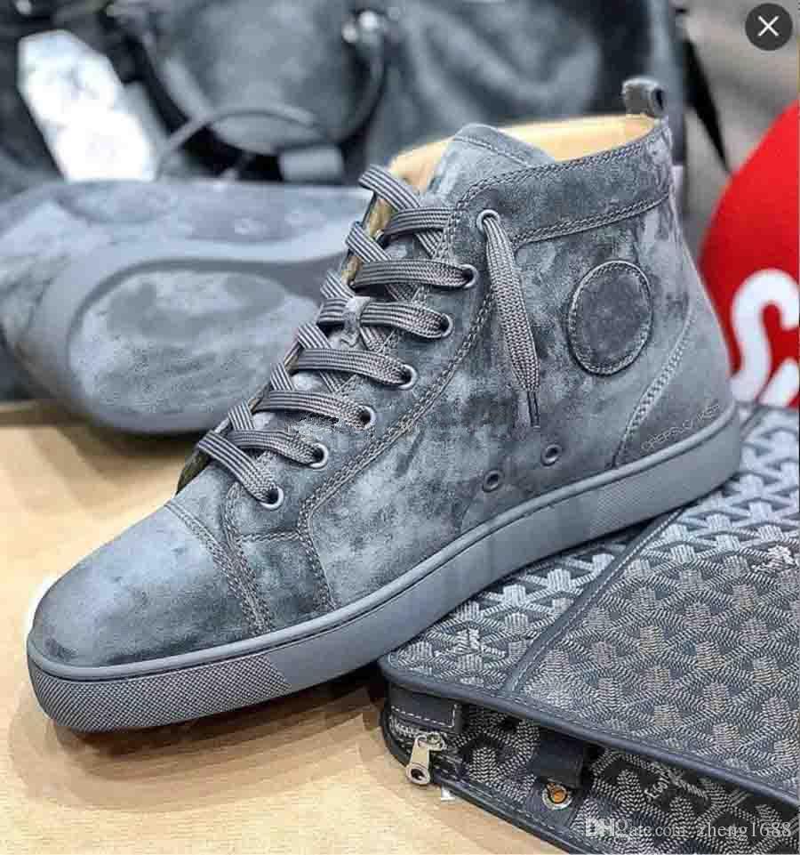 Yeni Gri / Mavi Süet Hakiki Deri Sneakers Ayakkabı Yüksek Üst ünlü markalar Kırmızı Alt Sneaker Ayakkabı Erkekler Kadınlar Nedensel Parti Elbise Düğün