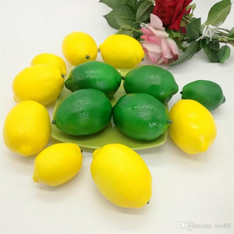 인공 과일 시뮬레이션 녹색 / 노란색 레몬 모델 장난감 보통 크기 장식 웨딩 소품 홈 장식을 쏴