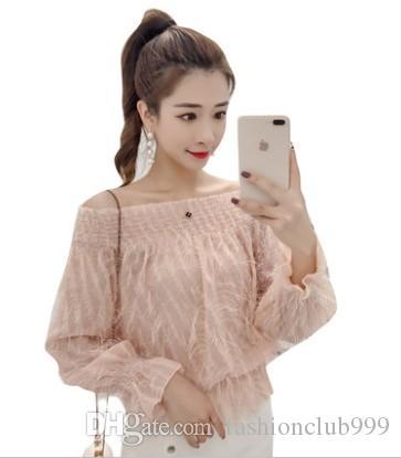 شحن مجاني جديد وصول حار بيع الأزياء النسائية النسخة الكورية سوبر الجنية فقاعة الشيفون طويلة الأكمام مشرق الحرير أعلى قميص المد
