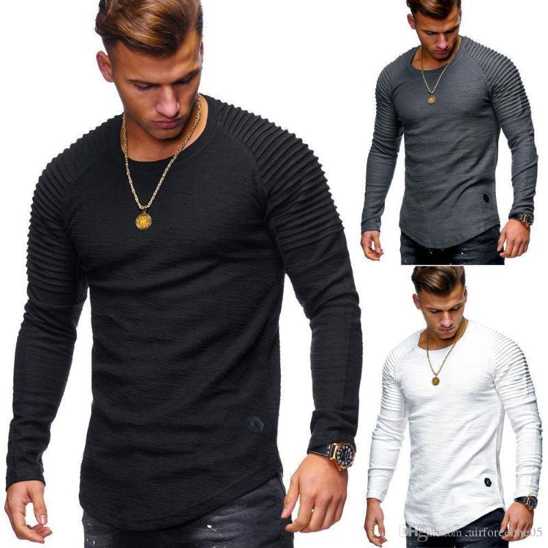 Round Neck Slim Solid Color Long Sleeved T-shirt Striped Pleated Raglan Sleeves Mens Clothing For Sale Mens Clothing