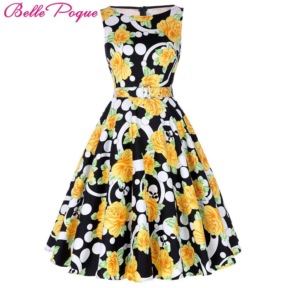 cba40d2f2066e 2019 Belle Poque Print Floral 50s Vintage Dresses Audrey Hepburn 2018 Women  Summer Retro Dress Vestidos Robe Womens Casual Clothing Y190410 From ...