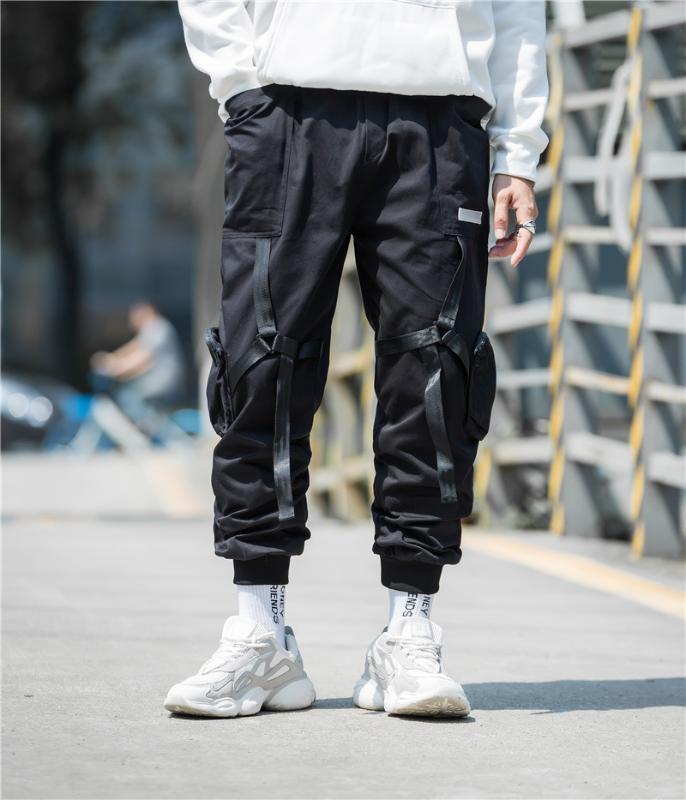 Erkekler Rasgele Streetwear Taktik şerit kargo pantolon Hip Hop Trendy gençlik bol pantolon Erkek koşucu Pantolon