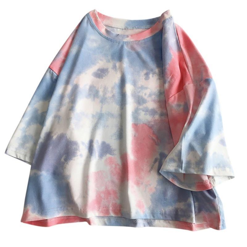 De gran tamaño de manga corta camiseta de las mujeres Streetwear del tinte del lazo de impresión del verano flojo Tee tapas de la camisa