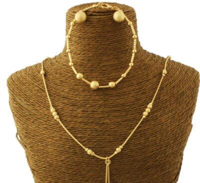 Adixyn جديد الخرزة أقراط / قلادة / سوار مجموعة مجوهرات / مجموعة مجوهرات ذهبية اللون لحفل الزفاف