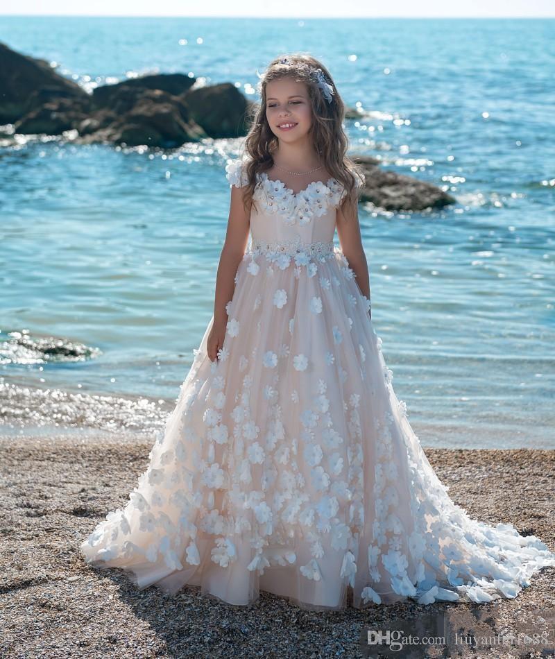 Formelle Princesse vintage manches mi-longues robes de demoiselle 2020 Sheer cou dentelle avec Bretelle longue Appliques Enfants