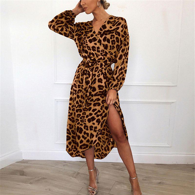 Fashion-Leopard Dress 2019 Women Chiffon Long Beach Dress Loose Long Sleeve Deep V-neck A-line Sexy Party Dress Vestidos de fiesta