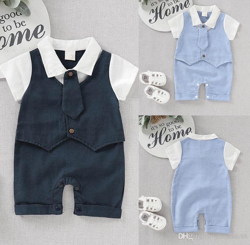 Baby-Bekleidung Baumwollbeiläufiges Sommer-Outfits kurze Hülsen-Herrspielanzug Krawatte binden Solid Print Overall Kleinkind-Jungen-Klagen