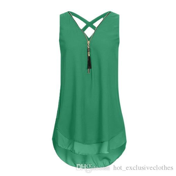 2019 Yeni Bayanlar için yaz Şifon bluz T-shirt kolsuz fermuar bayanlar için çapraz kayış çift şifon bluz