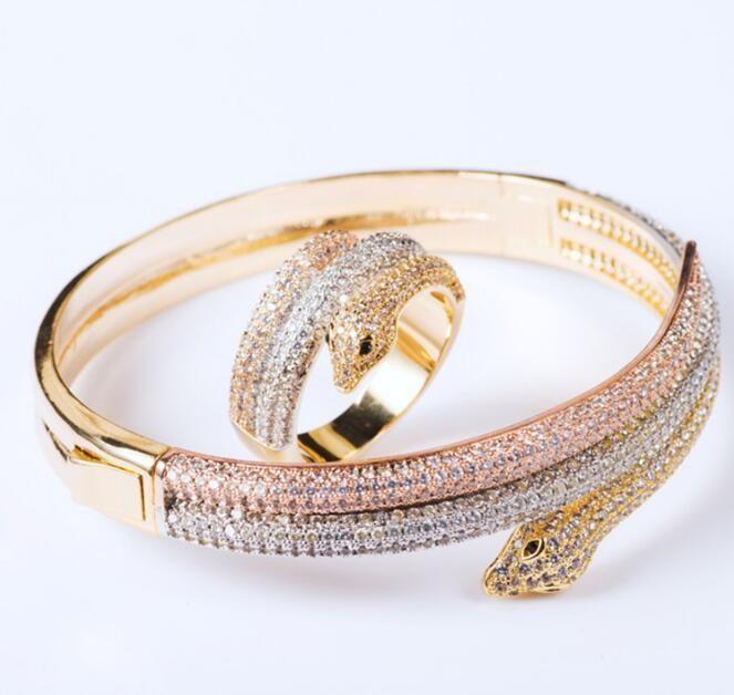 جديد أزياء ماركة المجوهرات مجموعات سيدة النحاس الكامل الماس ثلاثة لون 3 دائرة الأفعى serpenti 18 كيلو الذهب أساور خواتم مجموعات (1 مجموعات)