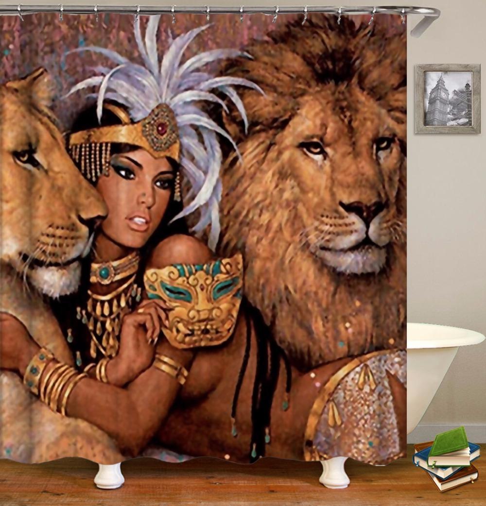 OLOEY cortinas de ducha de baño decoración 3D de impresión personalizada animal bestia a prueba de agua Cortinas de baño de tela de poliéster