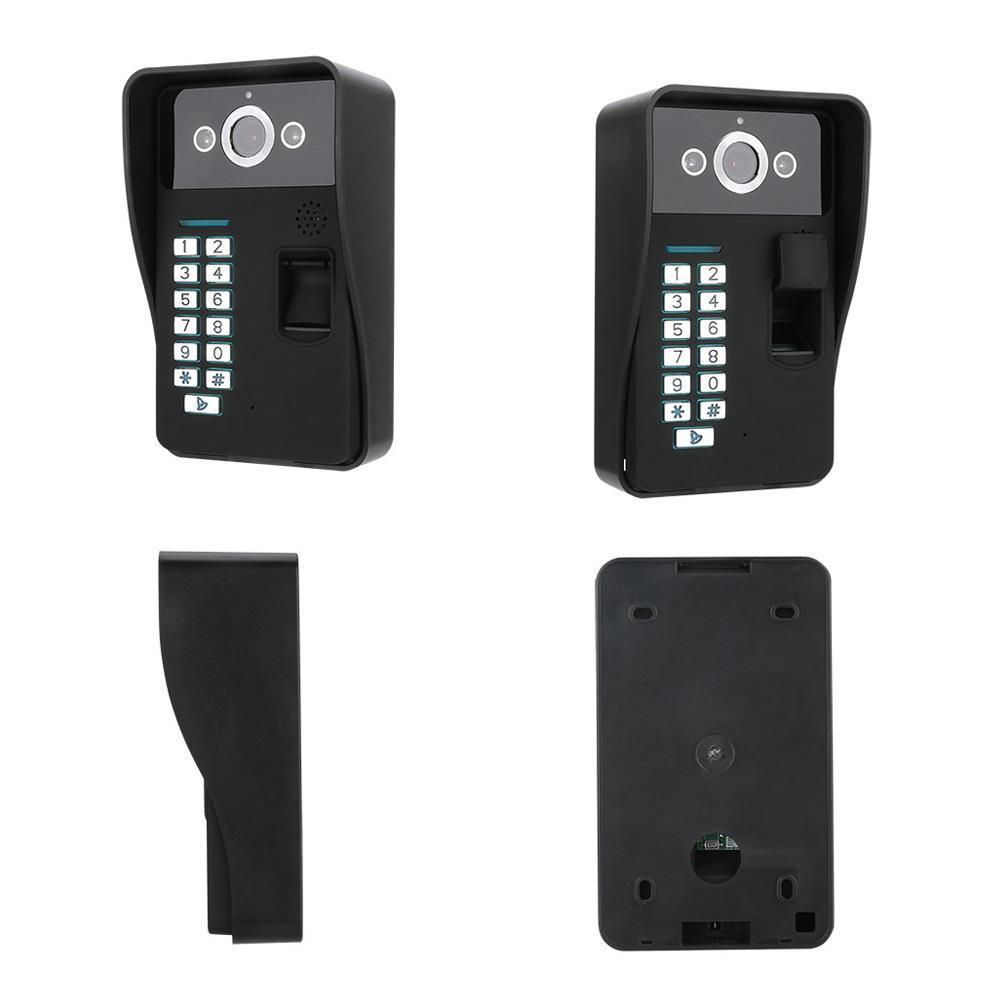 SY908MJF11 9 İnç Wifi Parmak İzi Şifre RFID Kapı Diyafonu İnterkom Kiti Gece Görüş Kamerası - Siyah ABD Tak