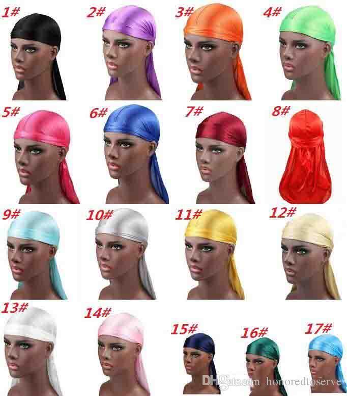 2019 Nuevos hombres de la moda de satén Durags Bandana Turban pelucas hombres sedoso Durag Headwear diadema pirata sombrero accesorios para el cabello