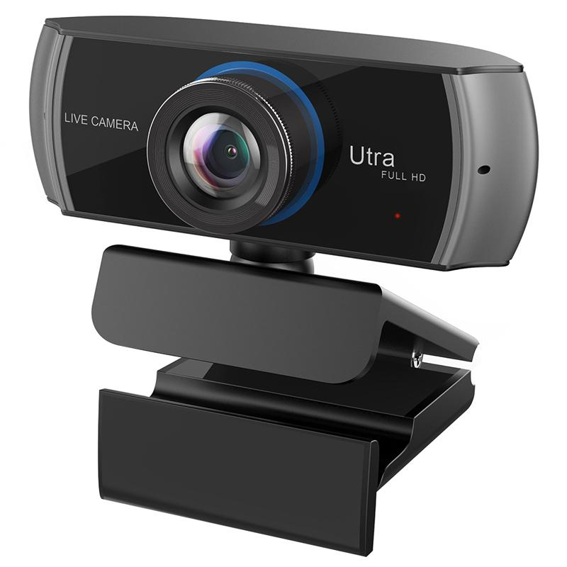 HD كاميرا ويب مدمجة في المزدوجة ميكروفونات الذكية 1080P كاميرا ويب USB برو تيار كاميرا لسطح المكتب كمبيوتر محمول جهاز لعبة كاميرا نظام التشغيل Mac OS Windows10 / 8 T191022