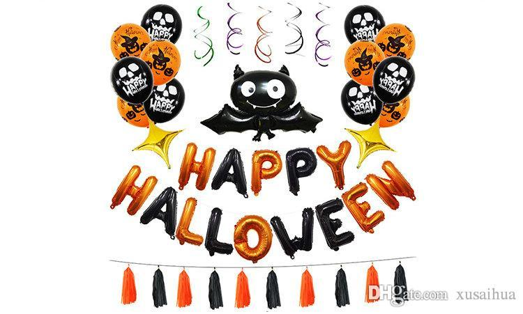 12 Estilos de Halloween Balão Set feriado festa de festa suprimentos decoração morcego abóbora Revestimento de Alumínio balão PVC hélice Pingente