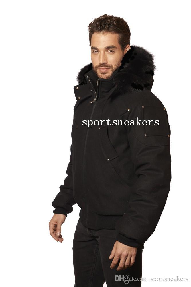 Veste bombardeuse balistique pour hommes avec col fer à fourrure de renard classique noir manteau d'hiver épais le bras avec des ciseaux