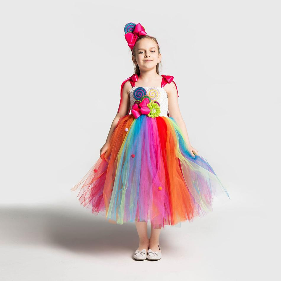 2 Kız Gökkuşağı Şeker Elbise Çocuk Lolipop Modelleme Frock Bebek Kız Performans Kostümleri Yaz Çocuk doğum günü partisi Giyim damla nakliye