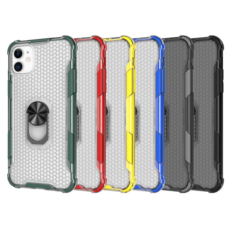 New honeycomb cell phone case for Iphone 11 pro x xr xs max 8 7 6 plus case cover car mounted magnetic finger ring kickstand holder