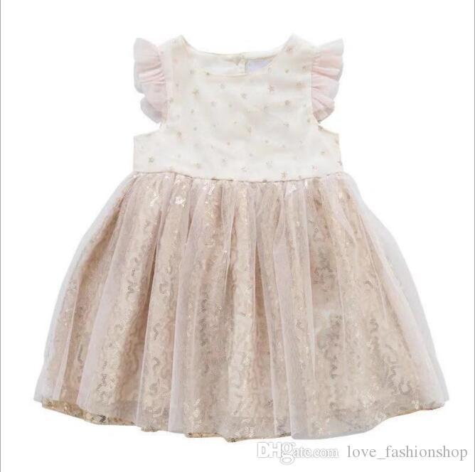 小売赤ちゃん女の子韓国のスパンコールチュールプリンセスドレス夏のフライスリーブエレガントなフリルチュートフェアリーウエディングドレスキッズデザイナー服女の子
