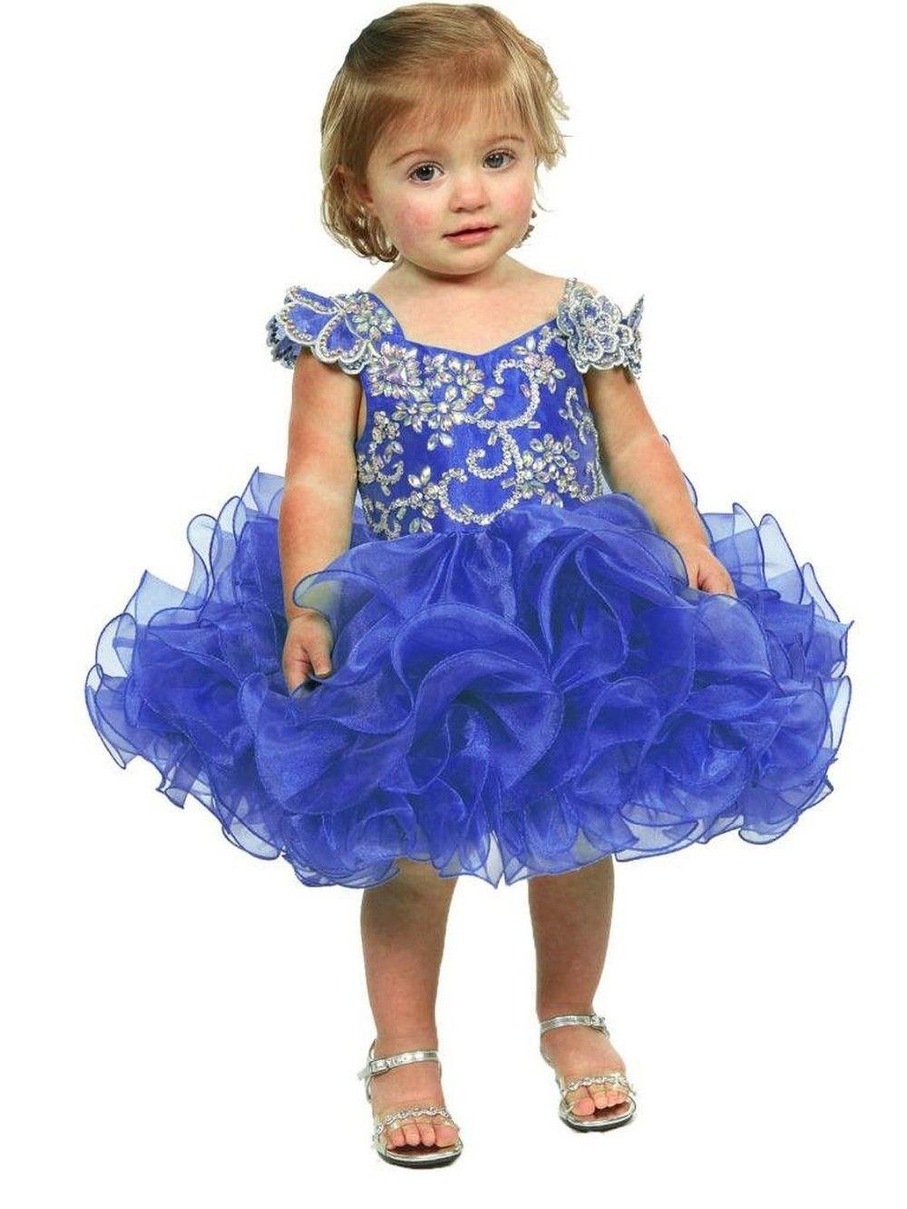 Blau kleines Mädchen Blumenmädchen Kleid Baby Mädchen Kleinkind Kleinkind Geburtstag Festzug Kleid kurze Länge gekräuselte Mode Ballkleid