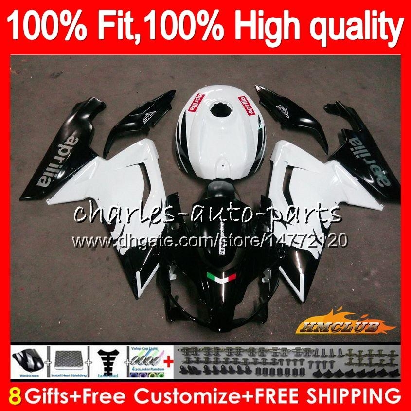 Injection For Aprilia RS-125 black white RS4 RS125 06 07 08 09 10 11 69HC.10 RS125R RSV125 RS 125 2006 2007 2008 2009 2010 2011 OEM Fairing