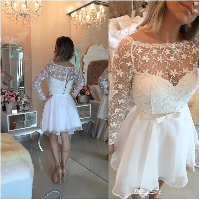 Cheap New White Lace Chiffon Homecoming Dresses Bateau Long Sleeves Short Cocktail Dresses Girls Mini Prom Party Gowns