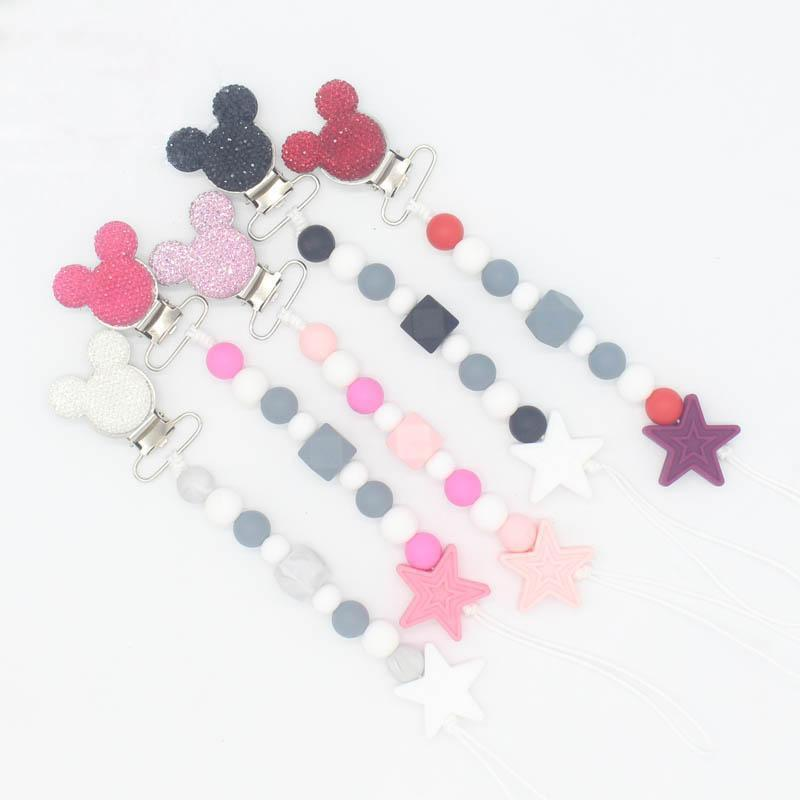 Style Pink Baby Soother Dummy Teat Cover Holder Clip Chain MAM