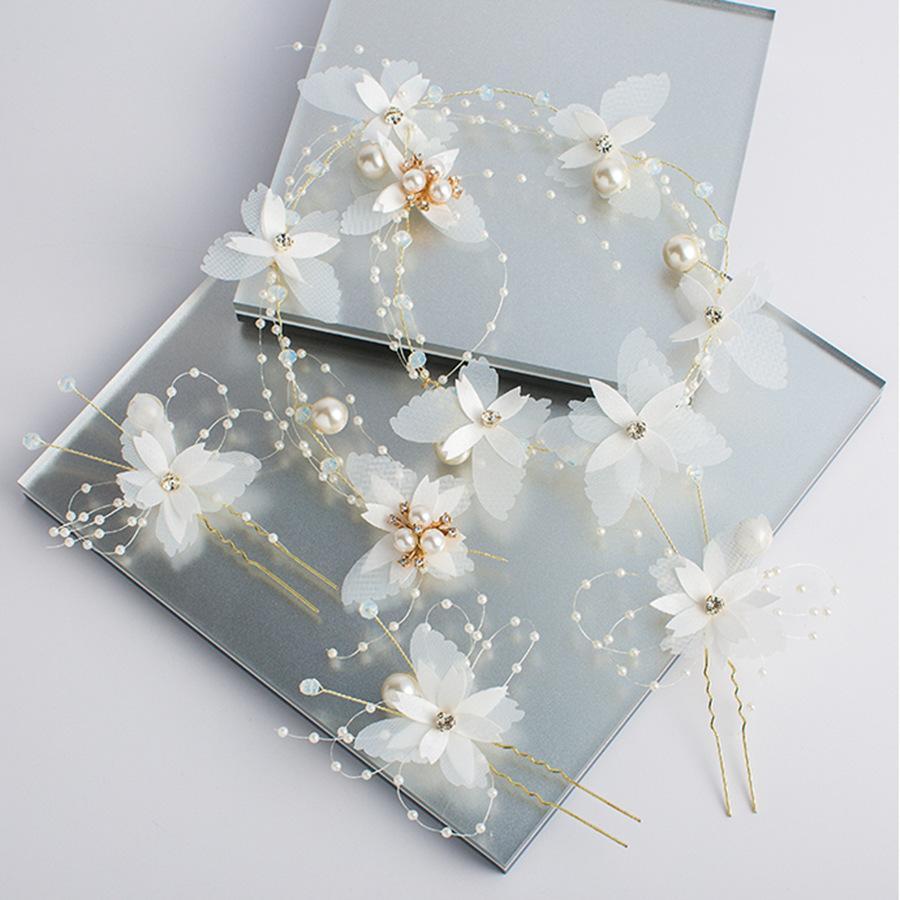 Noiva Headwear Celestiais Immortals bonito branco Princesa Flor Exceed Immortal Faixa de Cabelo Brincos Wedding Dress Acessórios de cabelo