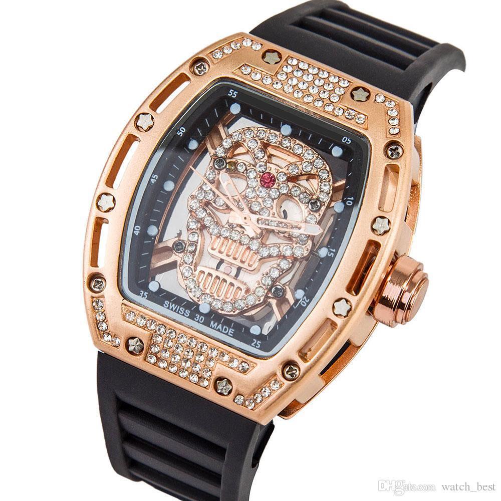 Rafraîchissez Shantou Hommes Montres diamant luxe Montres-bracelets en silicone Bracelet Quartz Mode Montre Homme Vente chaude cadeau d'anniversaire