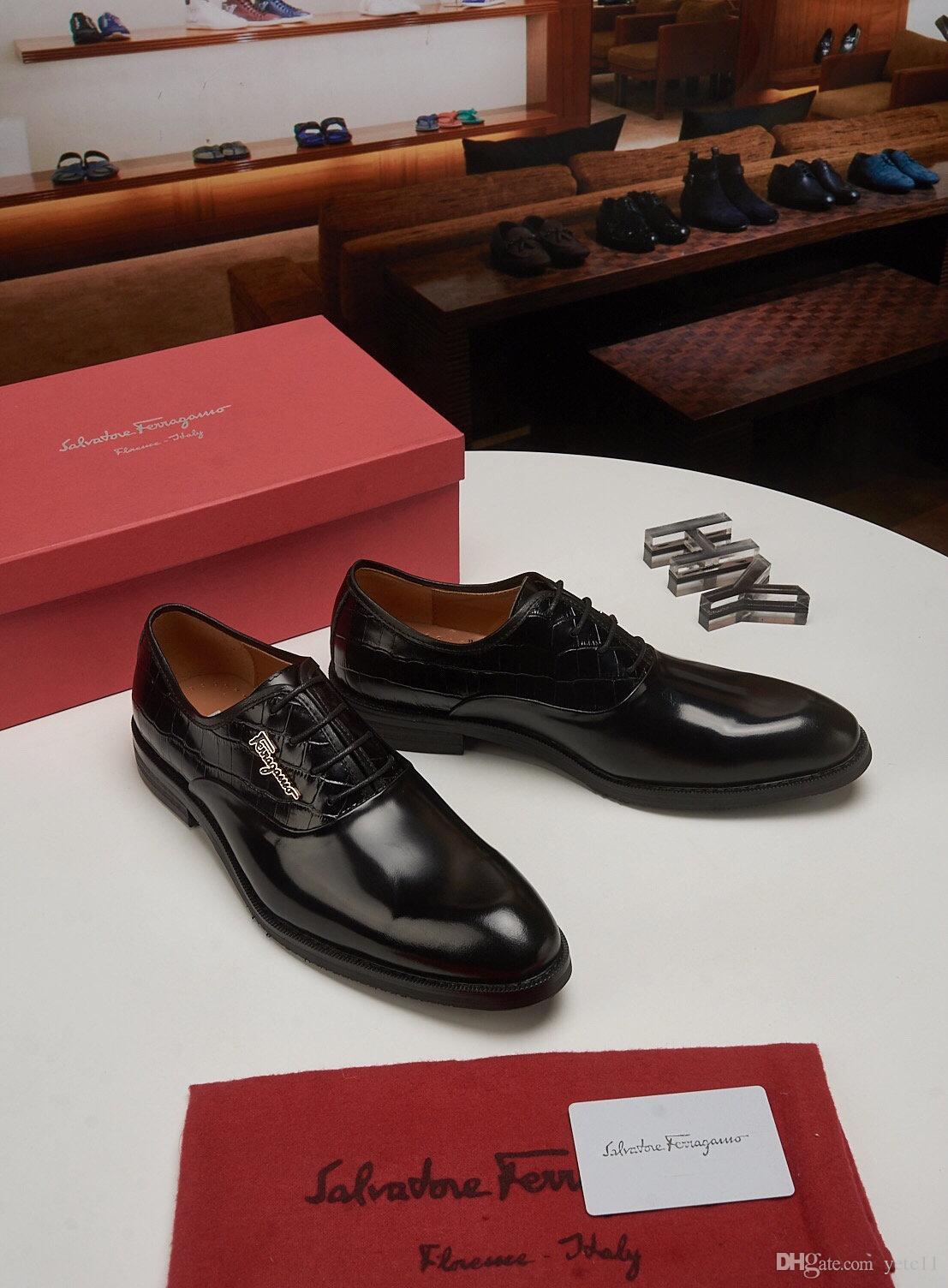 2019 marcas de lujo de los hombres de zapatos Oxford boda del partido Brogue zapatos del modelo cocodrilos de los hombres zapatos de vestir de cuero de los zapatos formales de negocios