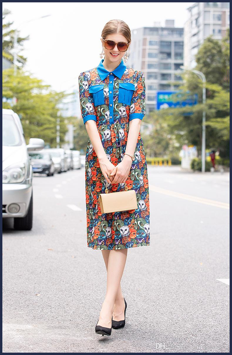 412 2019 Spring Summer Brand Same Style Dress Polyester Lapel Neck A Line Above Knee Short Sleeve Fashion Prom Luxury Dress JQ