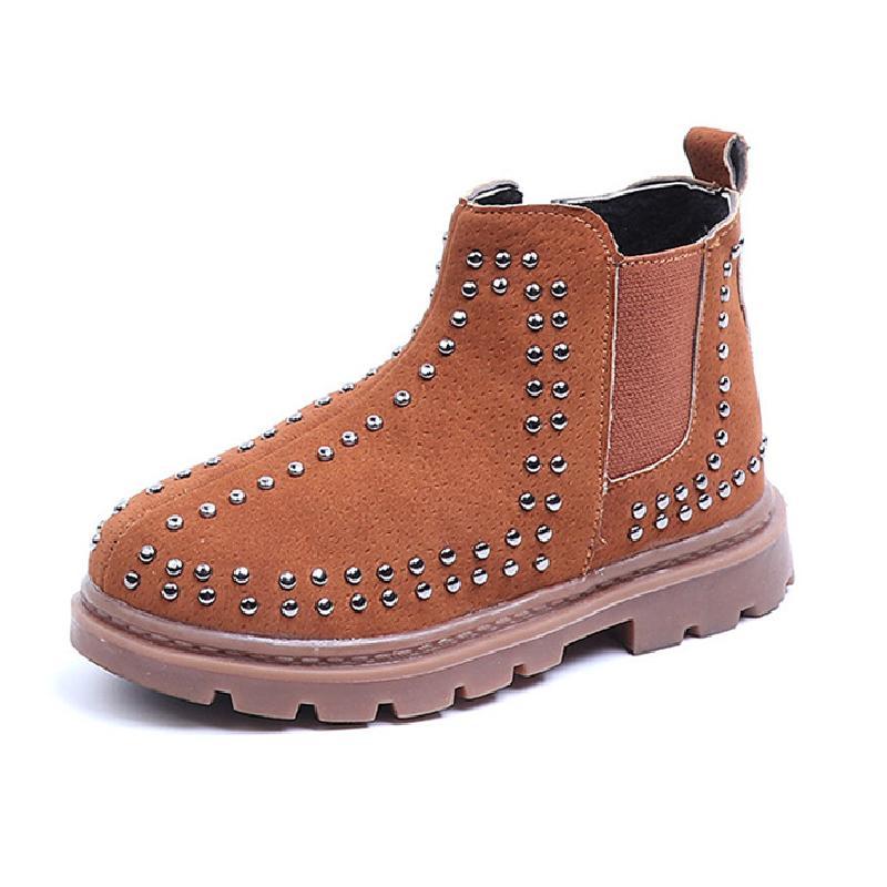 Ботинки детей лодыжки девушки мальчики заклепки осень детей зимние бархатные ботинки теплые снежные коричневые черные кроссовки