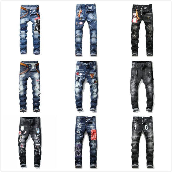 dsquared2 jeans hommes jeans denim concepteur pantalon noir déchiré mieux maigre version H2 cassé Italie revival rock moto de vélo de marque