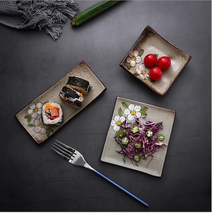Hand painted rough pottery Japanese creative ceramic plates sushi plate small dish dessert plate material plates seasoning plate