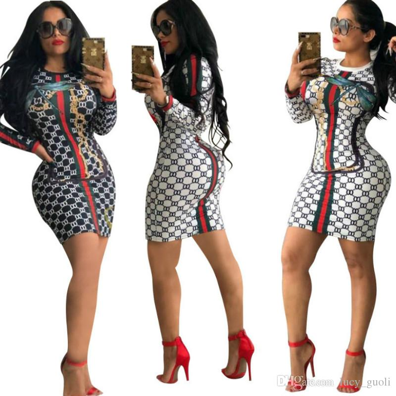 Retro Hot Sexy Women Stretchy Printed Stripe Lattice Bandage Long Sleeve Dress Girls Sexy Club Party Pencil Dress Bottoming Warm Dress