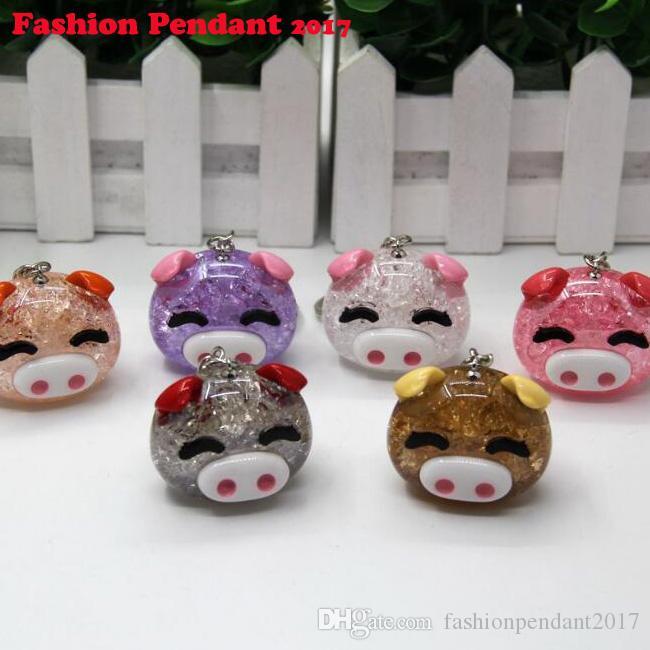Cartoon Acrylic Keychain Crystal Pig Pendant Car Bag Key Ring For Family Children Women Gift Keyring Gift