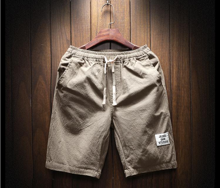 Оптовая летняя одежда мужские веревочные льняные шорты мужские хлопковые льняные повседневные воздушные шорты путешествия разноцветные пляжные штаны. Пять цветов M-5XL Размер
