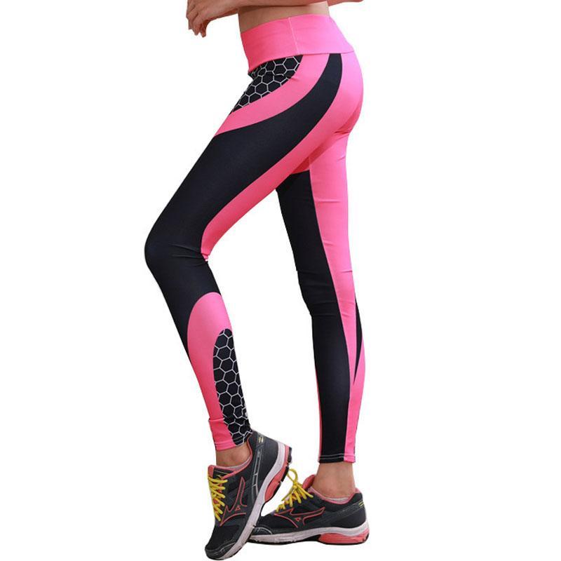 Nova moda fitness roupa de compressão de impressão digital Yoga calças do desgaste Honeycomb Sports Para Leggings Gym calças justas mulheres correndo