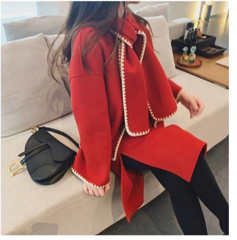 hermana pequeña de viento fragancia femenina populares retro Hepburn abrigo de lana de dos falda traje de invierno 2019 nueva ola