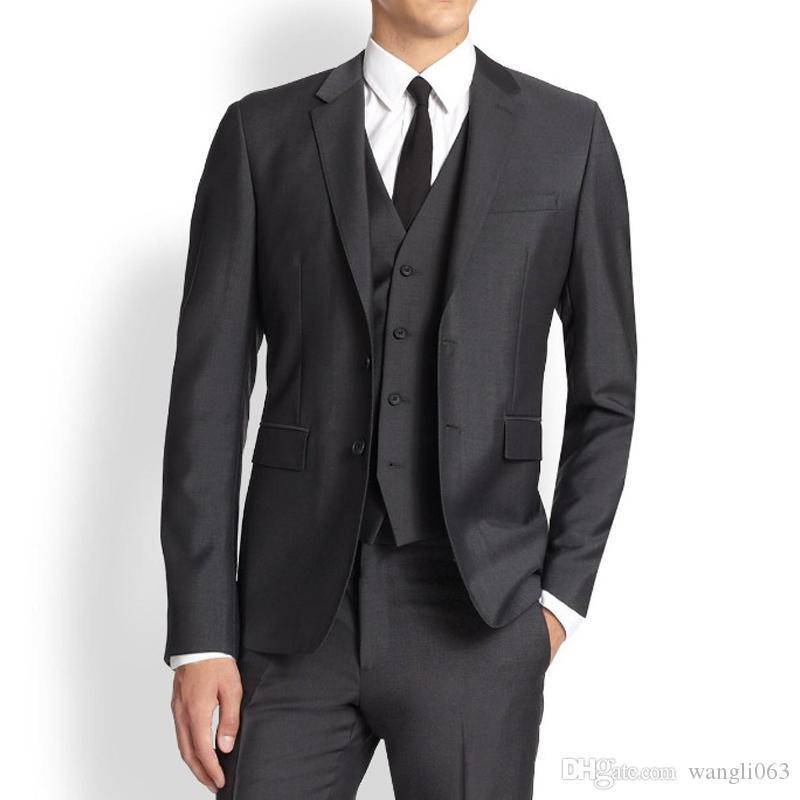 Negro partido del negocio de los hombres formales trajes de tres piezas con muesca 2018 de la solapa de ajuste clásico boda del novio de los smokinges (Jacket + Pants + vest)