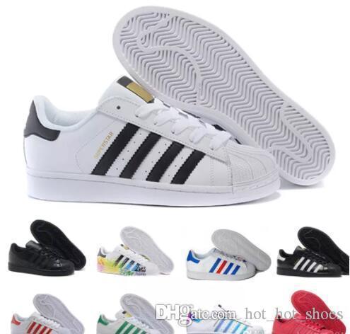 Acheter 2018 New Originals Superstars Chaussures Noir Blanc Or Hologram Junior Superstars Années 80 Pride Sneakers Super Star Pas Cher Femmes Hommes