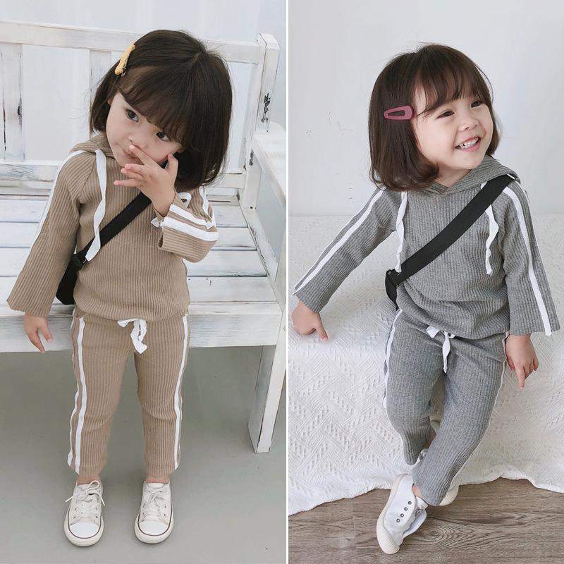 Two-pieces Sets for Baby Cotton Clothing 2018 New Autumn Girls' Pit Solid Shirt with Hooded +white Side Bowe Tie Pants for Kids Y200325