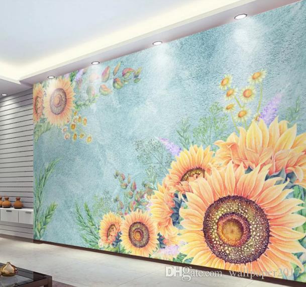 Custom 3d wallpaper mural Hand drawn sunflower flower flowers TV sofa Living room Bedroom wall papers home decor