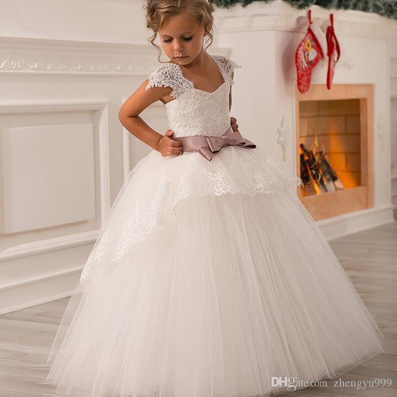 Vestido formal de tul lindo personalizado para niña de flores Vestido de fiesta Longitud del piso Vestido de cumpleaños para niños pequeños