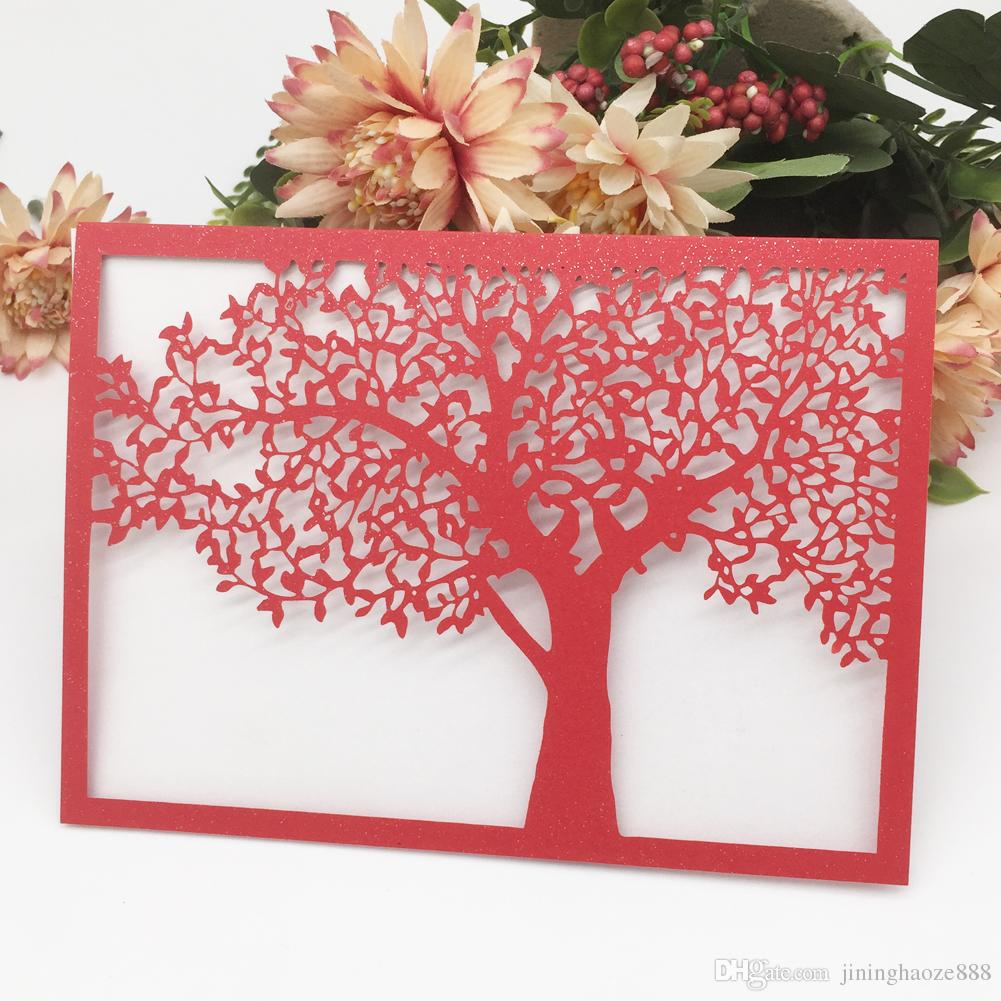35PCS /lot Hollow Laser Cut Wedding Invitations Cards Big Tree Apply To Party Events Ceremony Engagements Festival Design