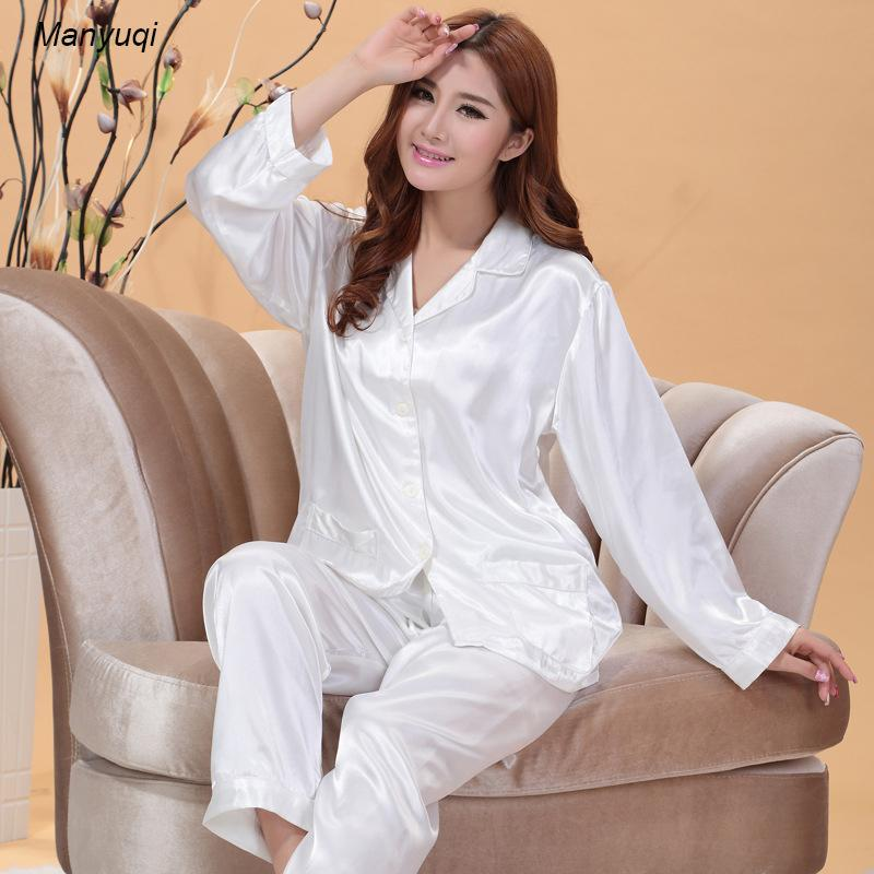Women's silk pajamas summer home&lounge wear white color women pajamas simple style plus size suit