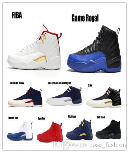 Kutu ile 12 Oyun Kraliyet FIBA Ters Taksi basketbol ayakkabıları Spor Salonu Kırmızı Uluslararası Uçuş 2003 SINIFI Michigan UNC Boğalar Koyu Gri sneakers